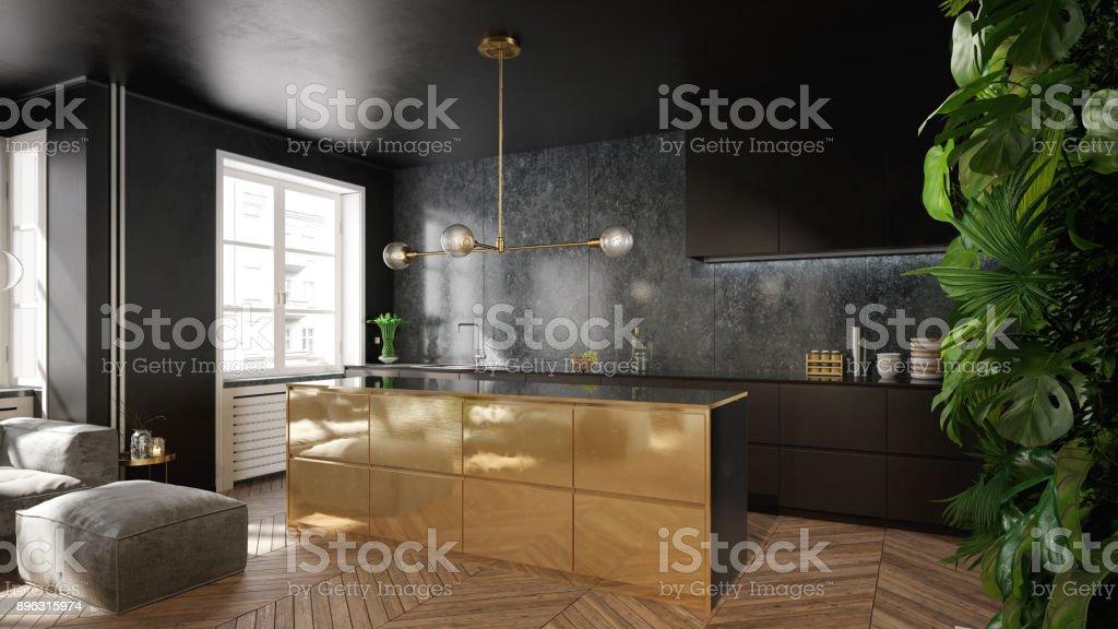 Modern black and gold kitchen interior design stock photo