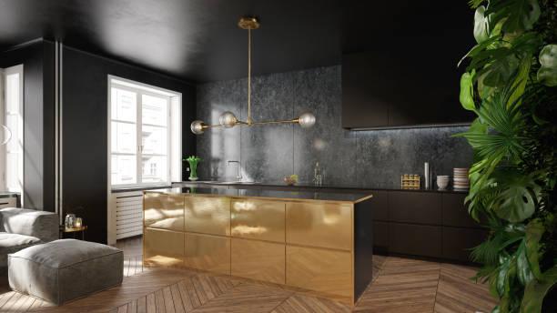 modernen schwarz und gold küche interior design - luxuriöse inneneinrichtung stock-fotos und bilder