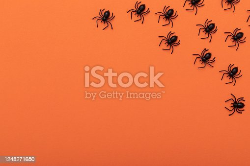 Modern black and orange invitation card background. Halloween concept