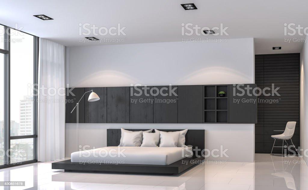 Modern Black And White Bedroom Interior Minimal Style 3d ...