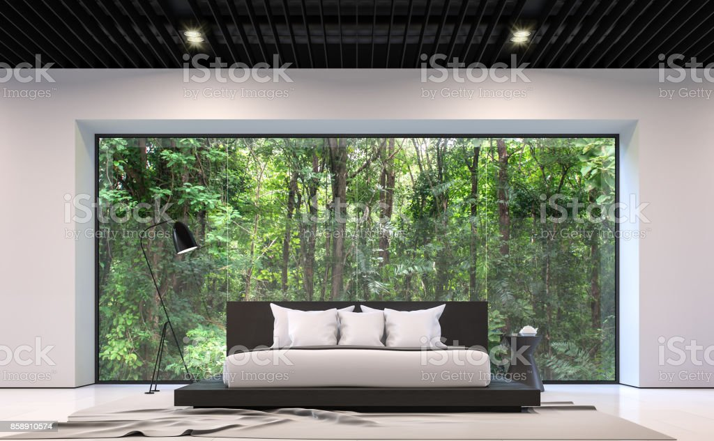 Modern black and white bedroom with forest view 3d rendering image stock photo