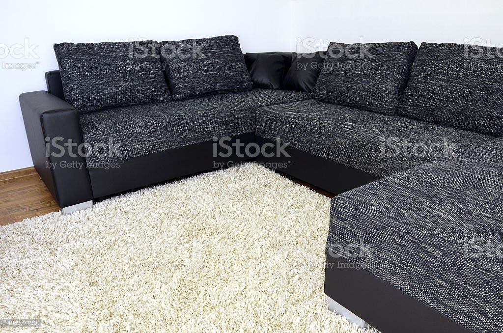 Modern Black And White Cloth Sofa With Leather And Pillows ...