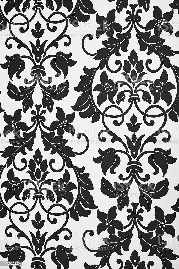 Modern Black And White Floral Pattern Wallpaper Stock