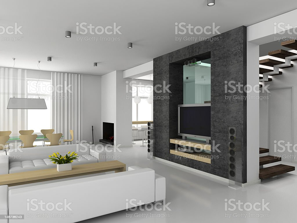Modern black and white interior of a luxury home royalty-free stock photo