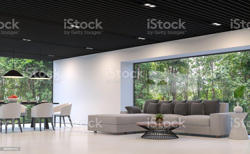 Modernen Schwarzweiß Wohnzimmer Und Esszimmer Mit Wald View 3d ...