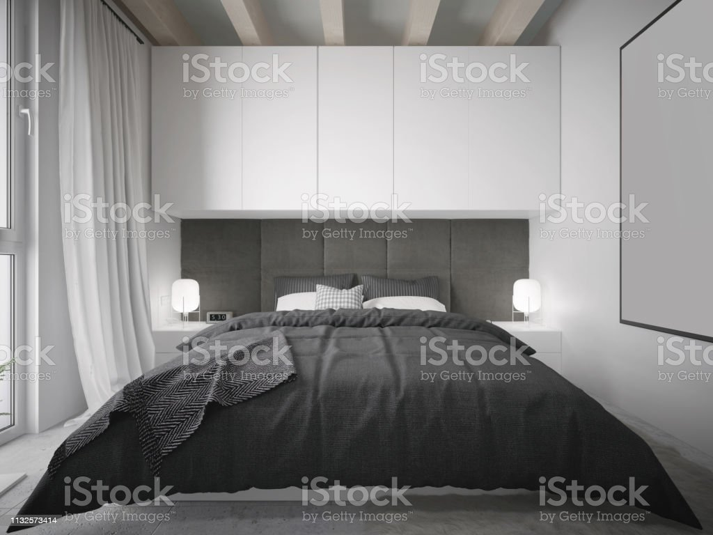 Modern Black And White Master Bedroom Interior With King Size Bed Stock Photo Download Image Now Istock