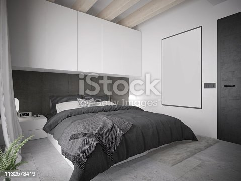istock Modern black and white master bedroom interior with king size bed 1132573419