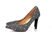 Modern black and white pattern  high heel women shoes isolated on white background