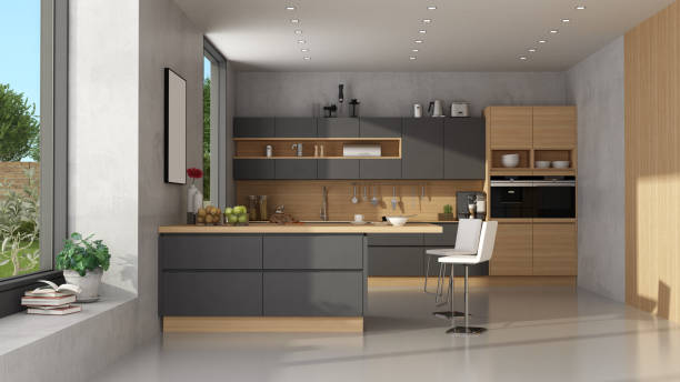 Modern black and wooden kitchen stock photo