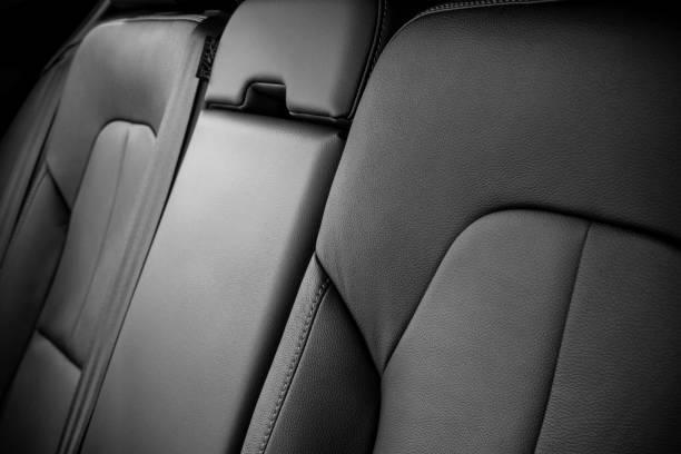 Modern black car leather seats stock photo
