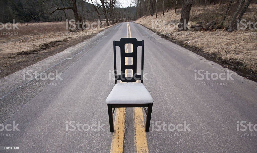 Modern Black Chair In Road stock photo