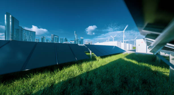 modern black frameless solar panel farm, battery energy storage and wind turbines on fresh green grass under blue sky - concept of green sustainable energy  system. 3d rendering. - sustainability foto e immagini stock