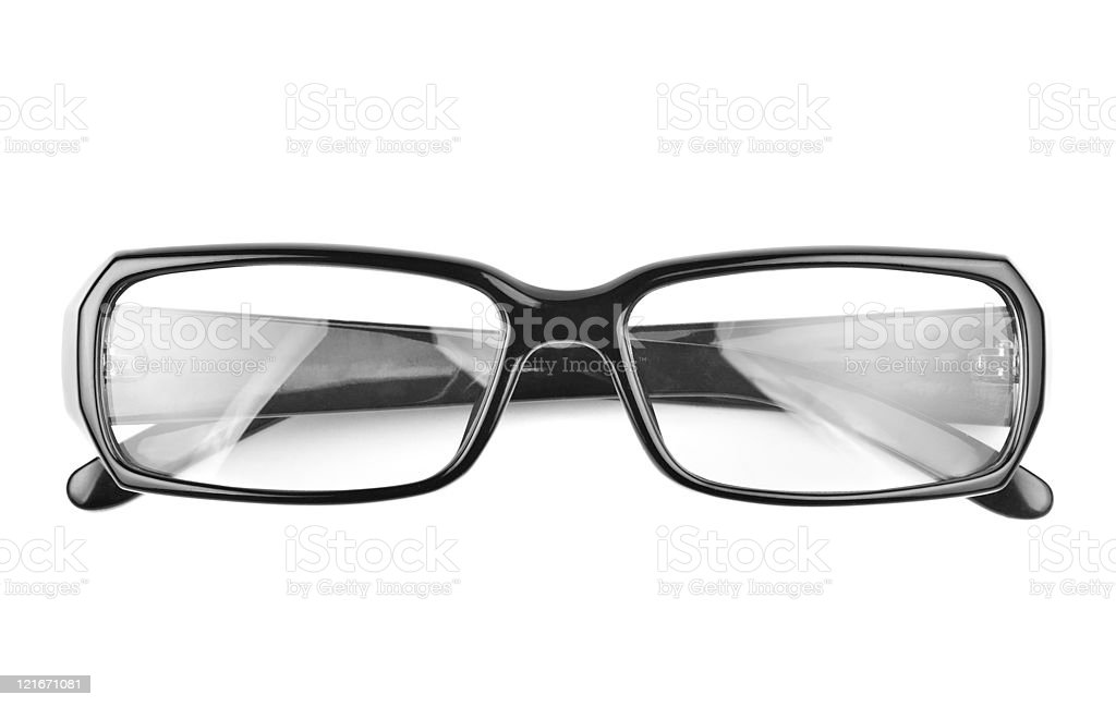 modern black glasses isolated on white background stock photo