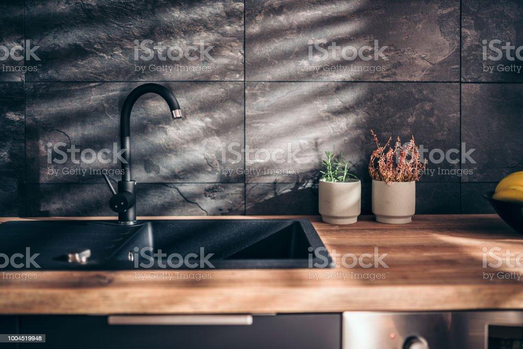 Modern black kitchen stock photo