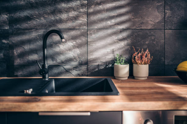 modern black kitchen - kitchen sink stock photos and pictures