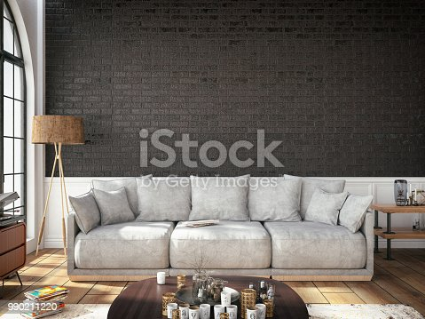 994217090istockphoto Modern Black Living Room with Sofa and Floor Lamp 990211220