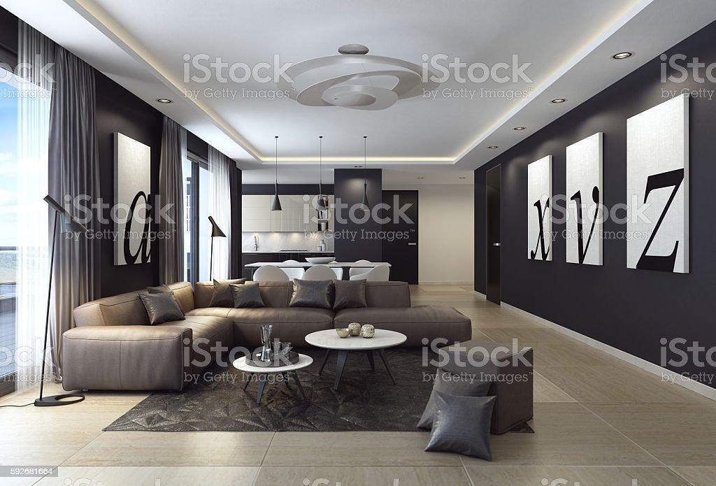 Modern black luxury style apartment with leather sofa stock photo