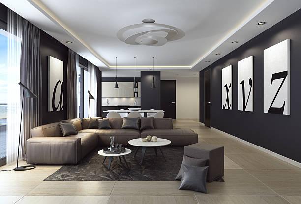 modern black luxury style apartment with leather sofa - malerei türen stock-fotos und bilder