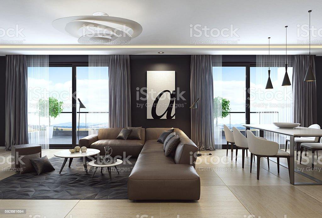 Modern black luxury style apartment with leather sofa - foto de acervo