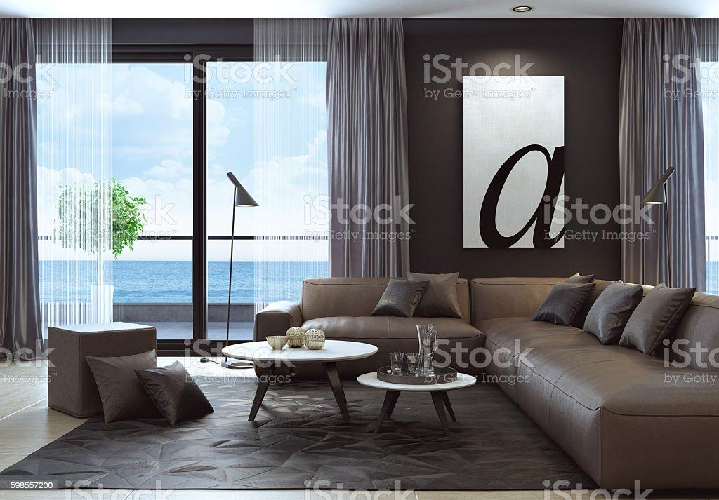 Modern Black Luxury Style Living Room Interior With Leather Sofa Stockfoto  und mehr Bilder von Architektur