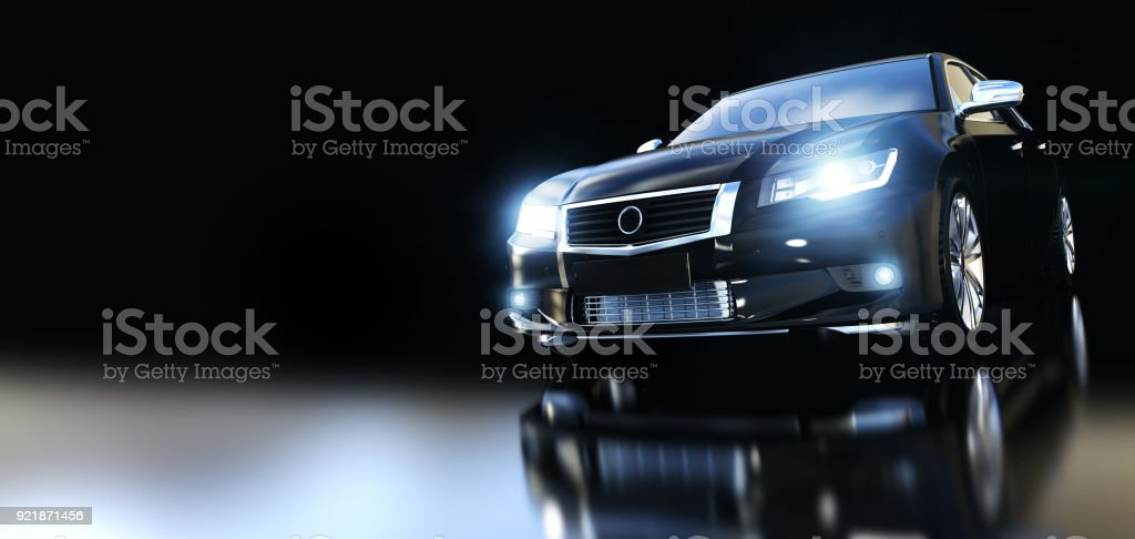 Modern black metallic sedan car in spotlight. Banner - Foto stock royalty-free di Affari