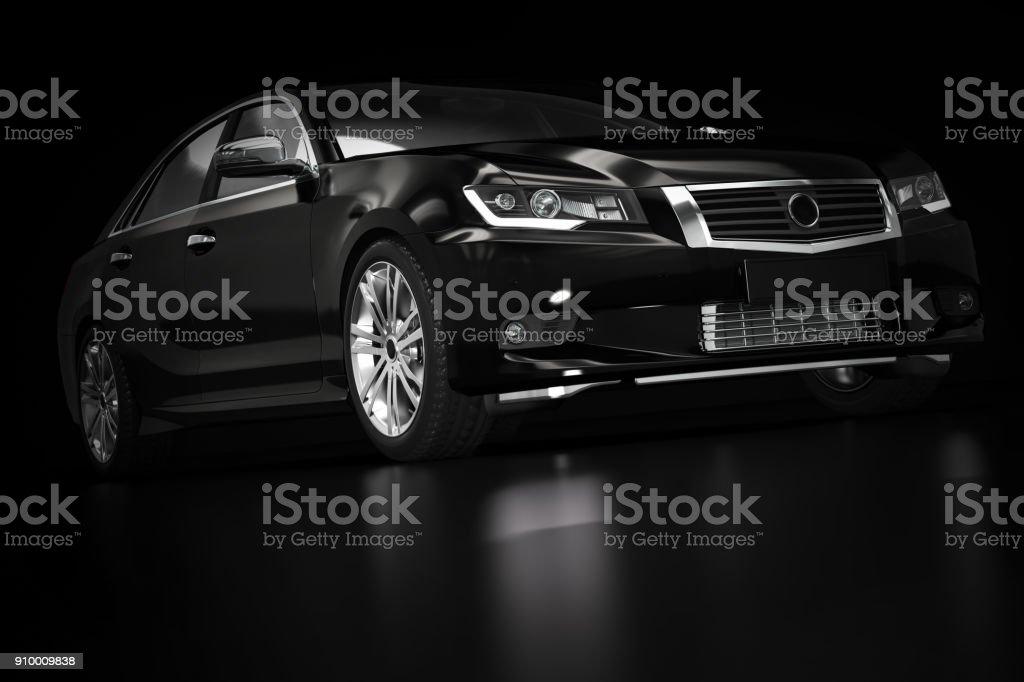 Modern black metallic sedan car in spotlight. Generic desing, brandless. stock photo
