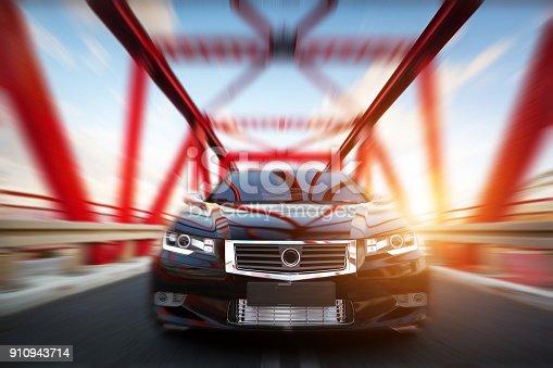 istock Modern black metallic sedan car on the bridge road. Generic desing, brandless. 910943714