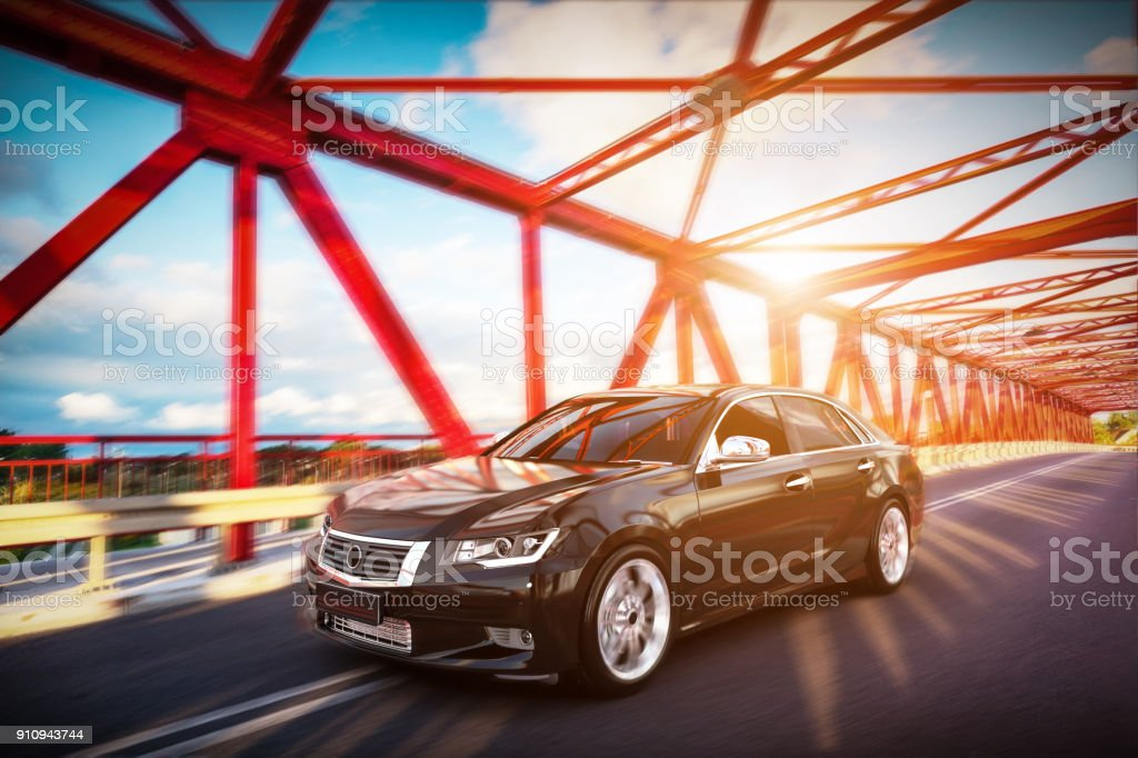 Modern black metallic sedan car on the bridge road. Generic desing, brandless. stock photo
