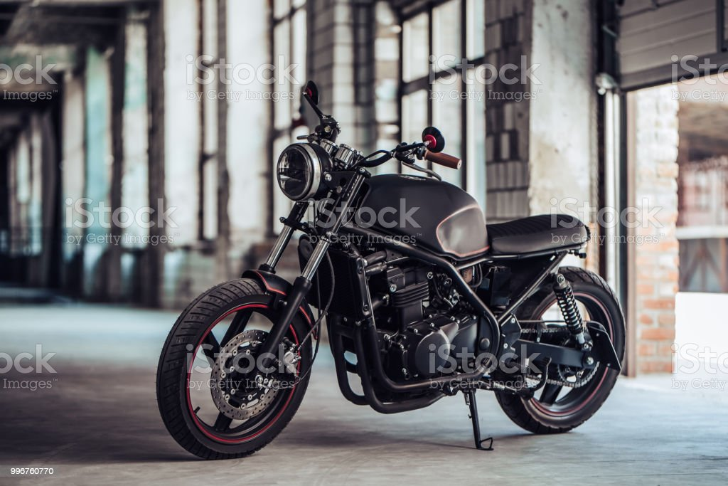 Modern black motorcycle stock photo