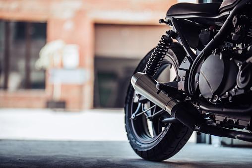 Modern black motorcycle