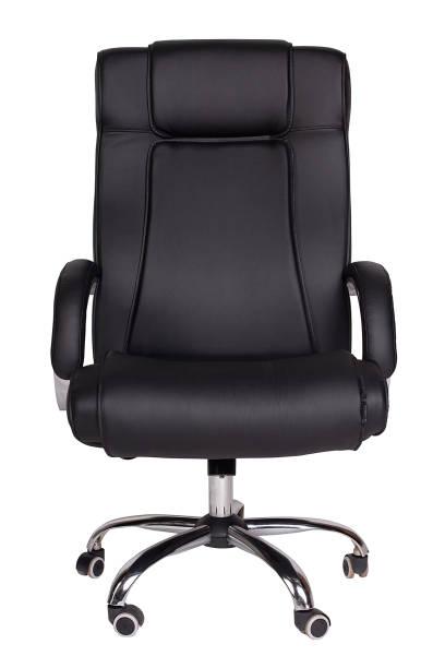 白い背景に隔離された現代の黒いオフィスの肘掛け椅子 - オフィスチェア ストックフォトと画像
