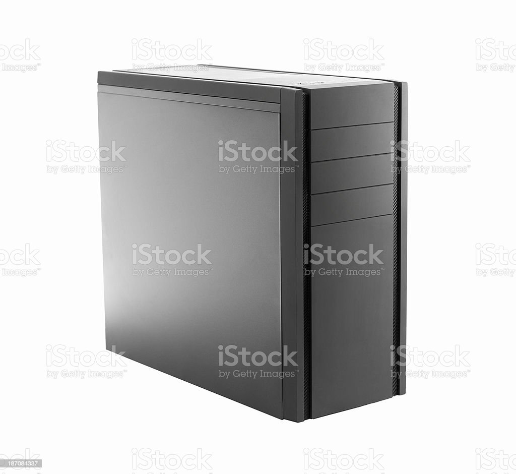 modern black pc tower isolated on white stock photo