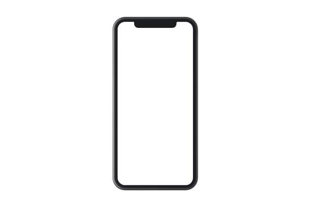 modernes schwarzes smartphone mit leerem bildschirm - smartphone stock-fotos und bilder