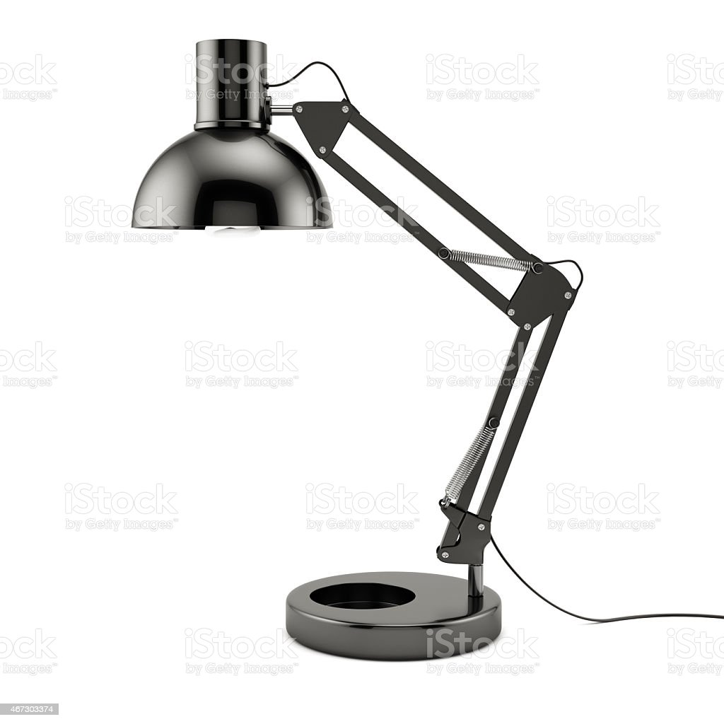 Modern black table lamp on a white background stock photo