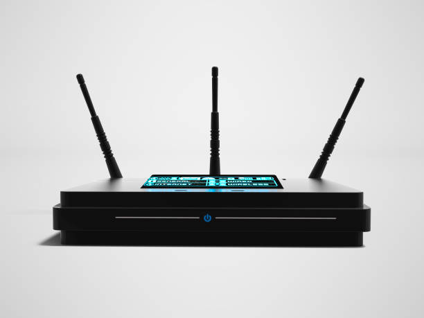 modern black wi fi router on three antennas in front 3d render on gray background with shadow - router foto e immagini stock