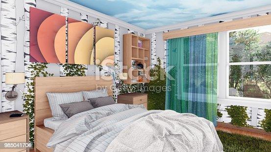 istock Modern blend with nature bedroom interior design 985041706