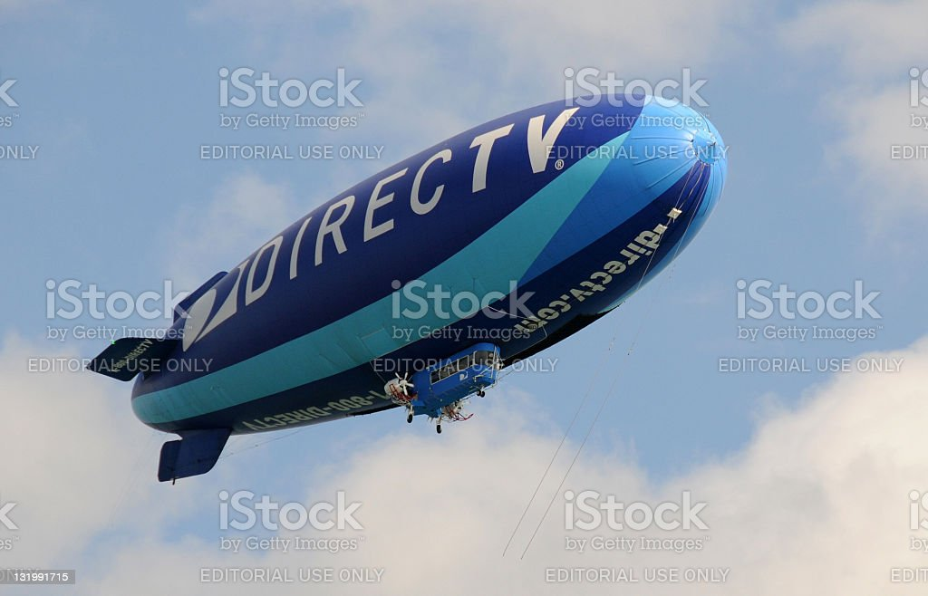 Modern blue airship stock photo