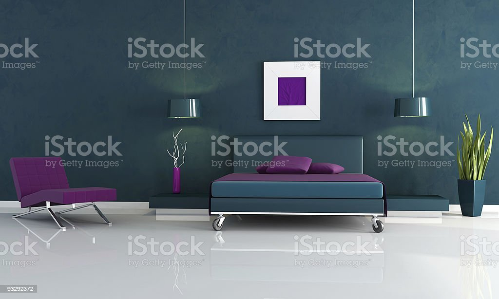 modern blue and purple bedroom royalty-free stock photo