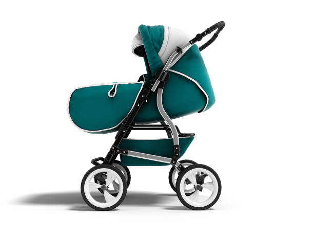 Modern blue baby stroller transformer all-season 3d render on white background with shadow Modern blue baby stroller transformer all-season 3d render on white background with shadow baby stroller stock pictures, royalty-free photos & images