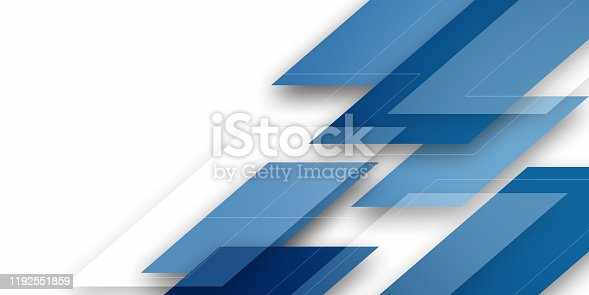 514054880istockphoto Modern blue background overlap paper with blank space for your text 1192551859