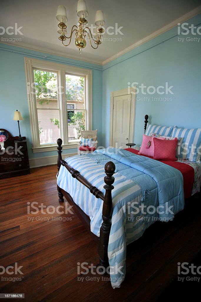 Modern Blue Bedroom Luxury Home royalty-free stock photo