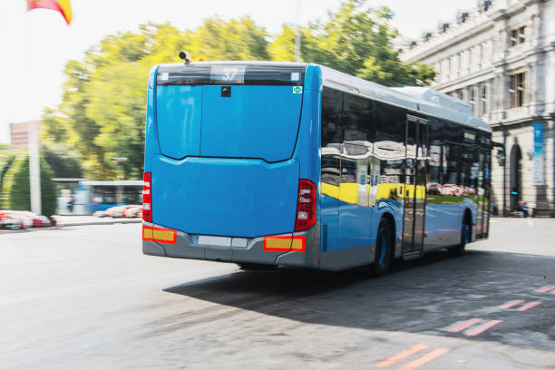 Modern blue city bus stock photo