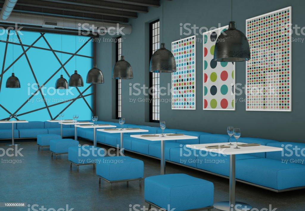 modern blue coffee restaurant indoor with furniture 3d Illustration