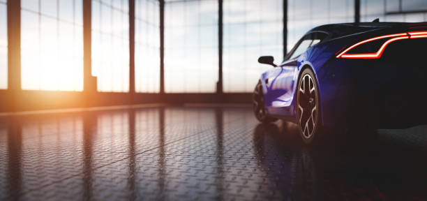 Modern blue coupe sports car in showroom stock photo