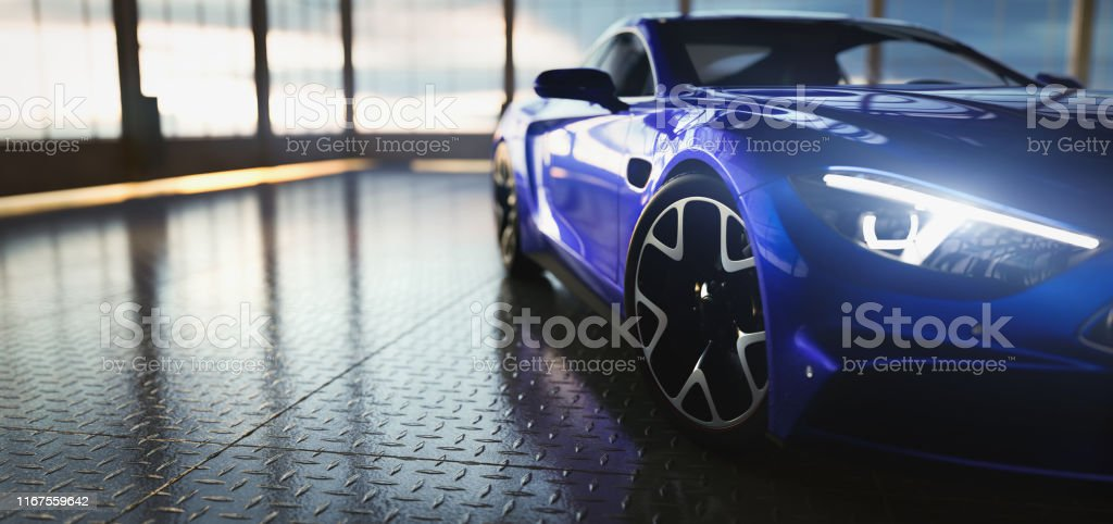 Modern blue coupe sports car in showroom Modern blue coupe sports car in showroom with big windows. Front view. 3D illustration At The Edge Of Stock Photo