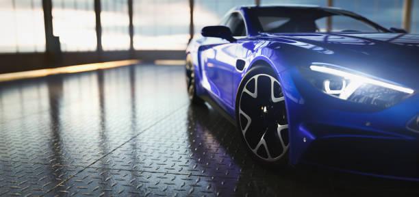 moderna auto sportiva coupé blu in showroom - auto foto e immagini stock