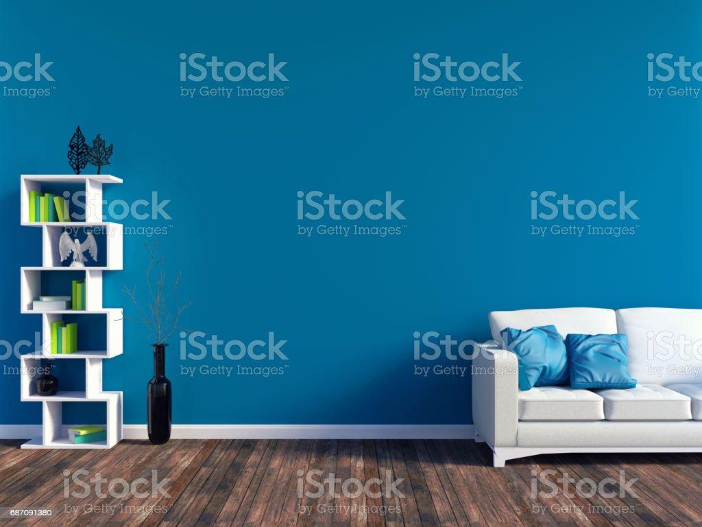 Moderne blaue Wohnzimmer Interieur Lizenzfreies stock-foto