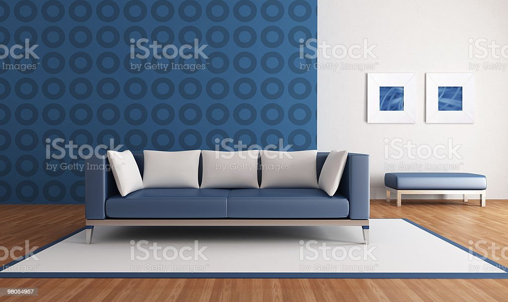 Modern blue lounge royalty-free stock photo
