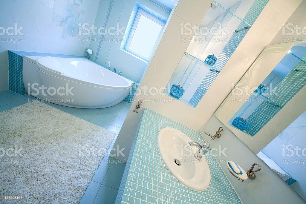 modern blue luxury bathroom. stock photo