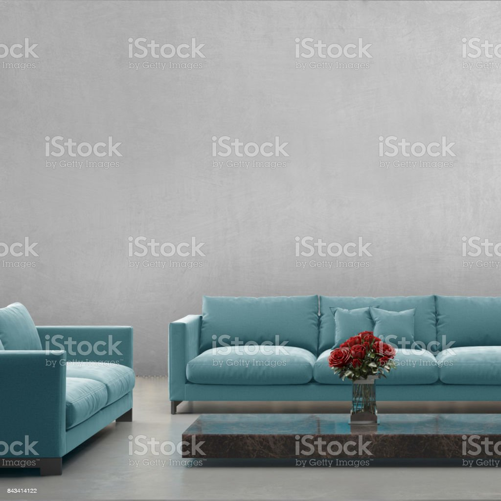 Modern Blue Pastel Sofa In Front Of Blank Gray Wall Interior Copy Space  Template Stock Photo U0026 More Pictures Of Apartment | IStock